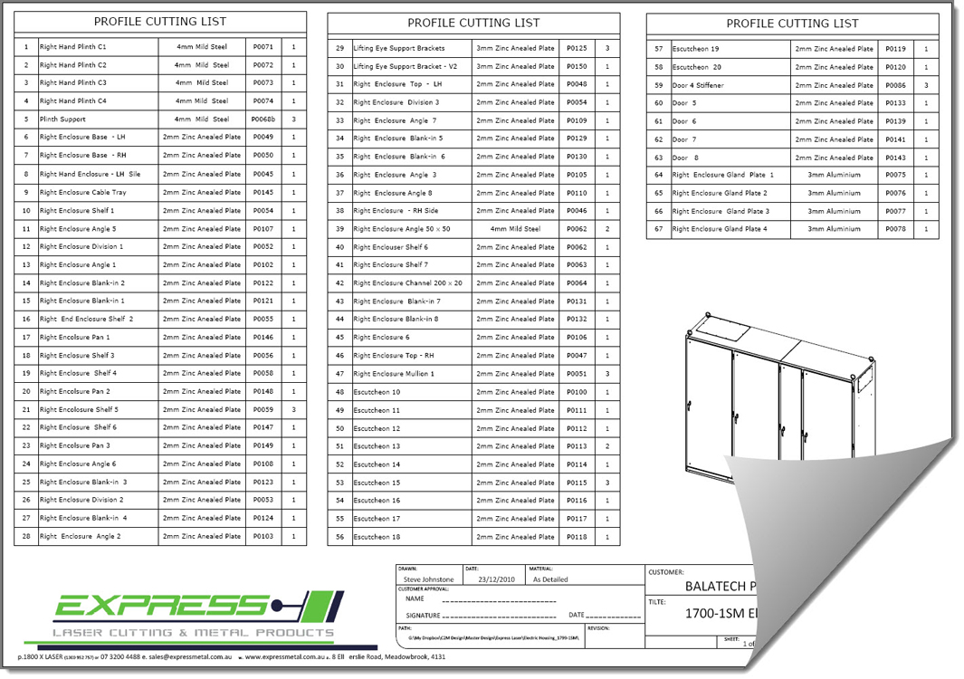 Full Sheet Metal Cut List