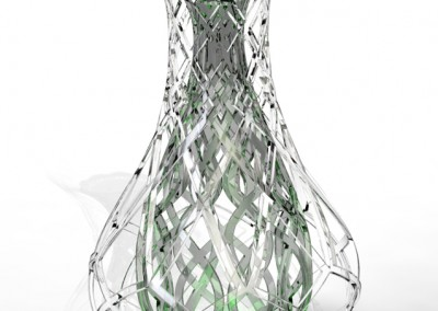 Photo render - clear glass outer and green glass inner